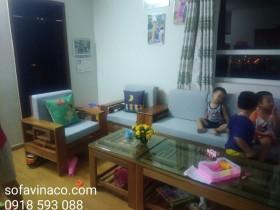 Làm đệm ghế gỗ nhà chị Hoa tại chung cư Dream Town, Từ Liêm