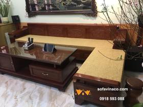 Đệm ghế giả cổ hoa văn chìm cho ghế sofa gỗ L