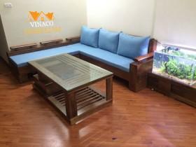 Bộ đệm ghế sofa gỗ L màu xanh và gối chữ nhật