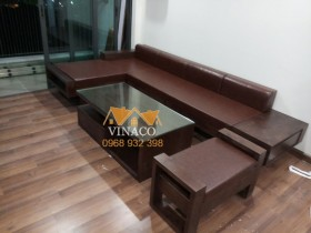 Bộ đệm ghế sofa L bằng da ở Mỹ Đình Plaza, Từ Liêm, Hà Nội