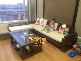 Bộ vỏ đệm ghế mới cho gia đình chị Linh ở Văn Quán, Hà Đông