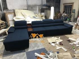 Mẫu ghế sofa góc L màu lam đậm mới hoàn thiện