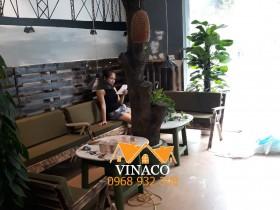 Lắp đặt đệm ghế cho quán Cafe Nón Lá ở Mỗ Lao, Hà Đông