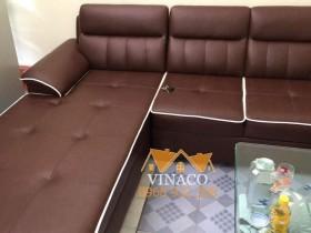 Mẫu ghế sofa góc nâu viền trắng có chia ô rút núm