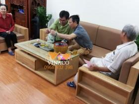 Hai bộ đệm ghế da cho chị Hà ở chung cư An Bình 1 Định Công