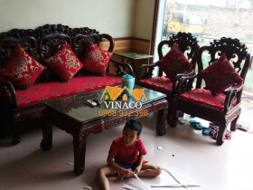 Đệm ghế giả cổ cho anh Kiên thôn Bầu, Kim Chung, Đông Anh