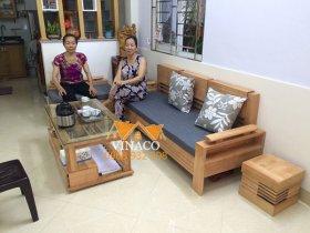 May vỏ đệm ghế gỗ L cho gia đình ở Phương Mai, Đống Đa