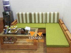 Đệm ghế màu xanh matcha tươi mát tại chung cư Nam La Khê Hà Đông