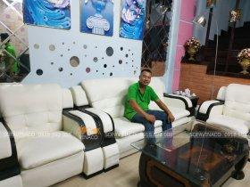 Công trình bọc lại ghế sofa da tại phố Lê Văn Thiêm, Thanh Xuân, Hà Nội