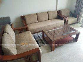 May vỏ đệm cho đệm ghế gỗ nhà chị Hương Ciputra Tây Hồ