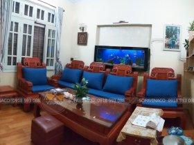 Bộ đệm ghế cùng gối chữ nhật cho ghế gỗ giả cổ ở Ngọc Thụy, Long Biên