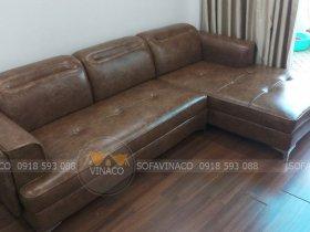 Bọc da mới cho bộ ghế sofa của anh Thành ở Trần Tử Bình