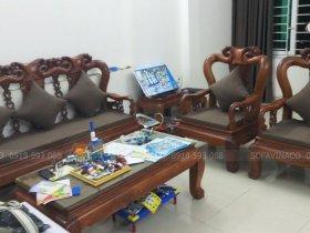 Làm đệm ghế cho bộ ghế gỗ giả cổ anh Dương ở Lương Khánh Thiện