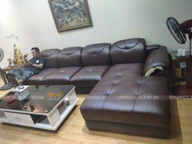 Bọc lại ghế sofa da thật ở toà MD Complex Hàm Nghi