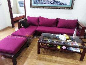 Đệm ghế màu tím sẽ như thế nào khi phối lên phòng khách