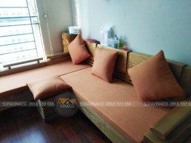 Bộ đệm ghế sofa góc màu cam nhạt tại Trường Chinh, quận Hoàn Kiếm
