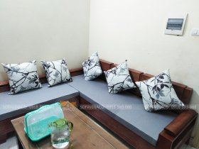 Làm đệm ghế sofa gỗ tay trứng cho anh Tuấn ở Linh Đàm
