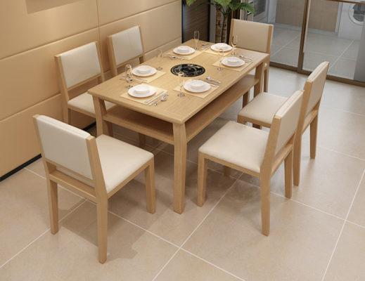 Màn kết hợp của bàn ghế ăn với không gian nhà bếp thêm phần sang trọng