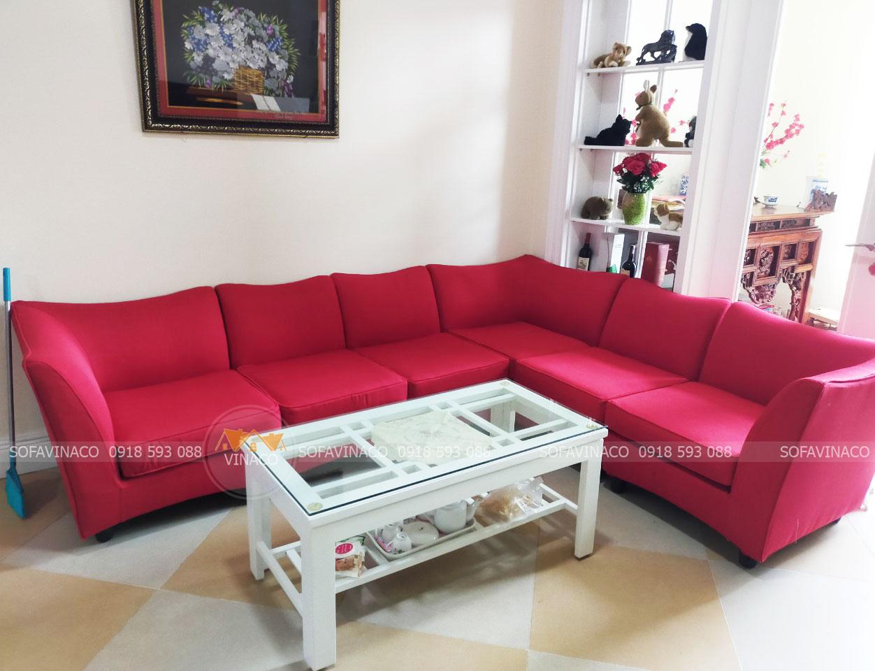 Bọc ghế sofa góc màu đỏ uy tín chất lượng tại Kim Mã, Hà Nội