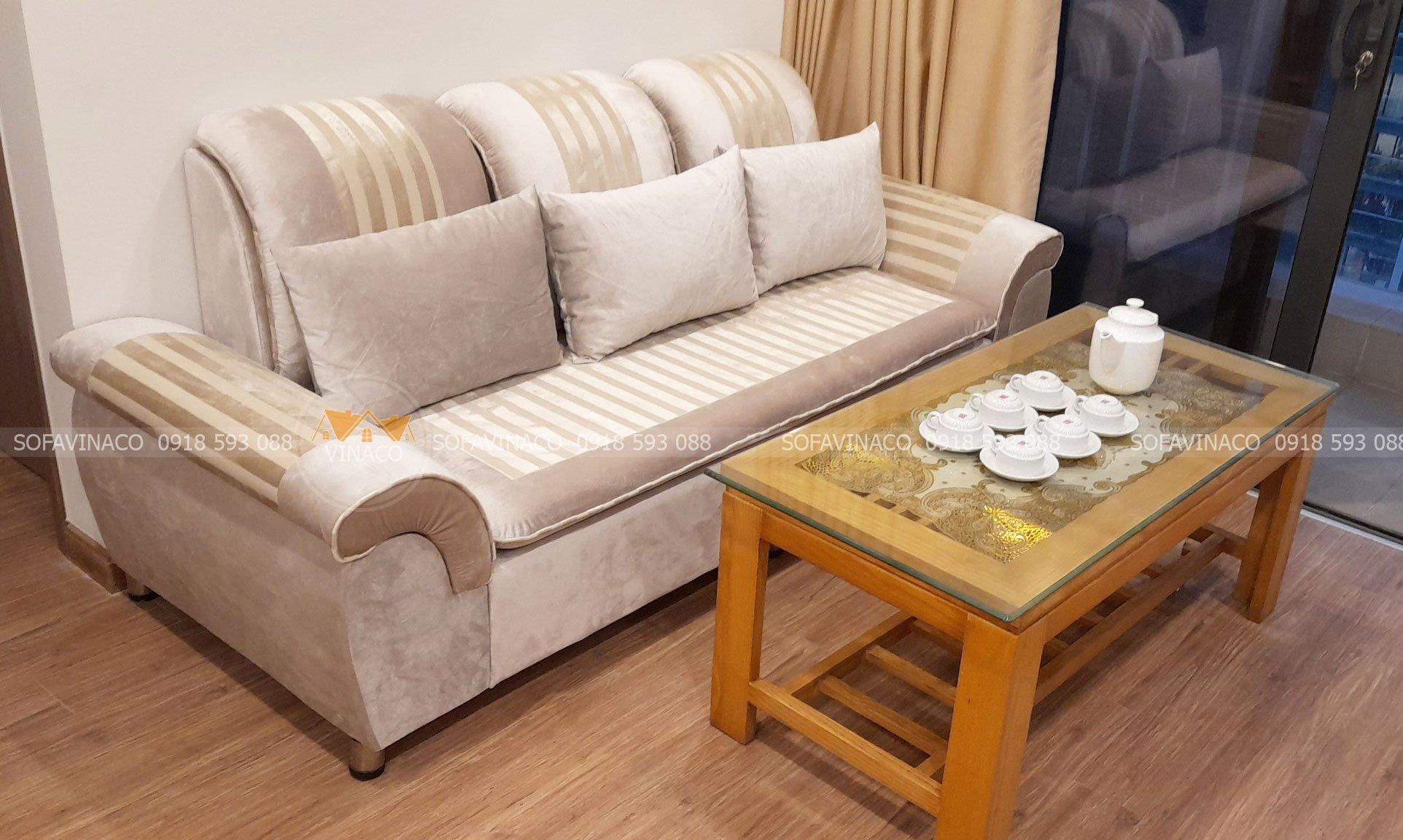 Bọc ghế sofa nhung mẫu TM11 tại Khương Thương, Đống Đa, Hà Nội