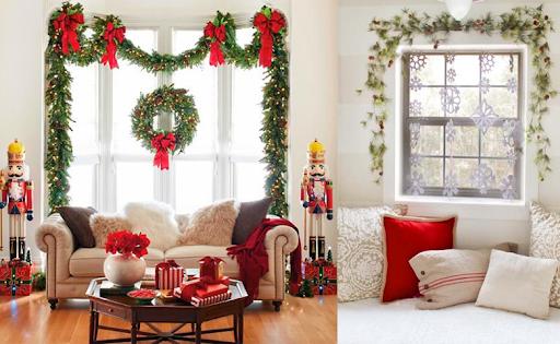 Bọc ghế sofa trắng đỏ tăng không khí ấm áp mùa Noel