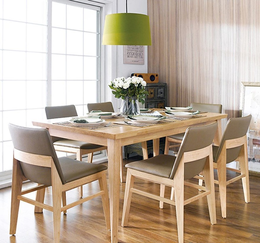 Các mẫu bàn ghế ăn bọc nệm gỗ tự nhiên hiên đại