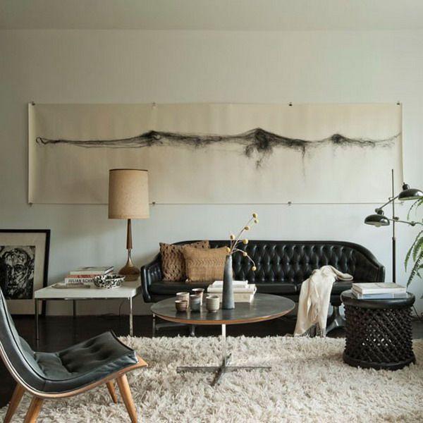 14 Cách trang trí phòng khách với ghế sofa da màu đen