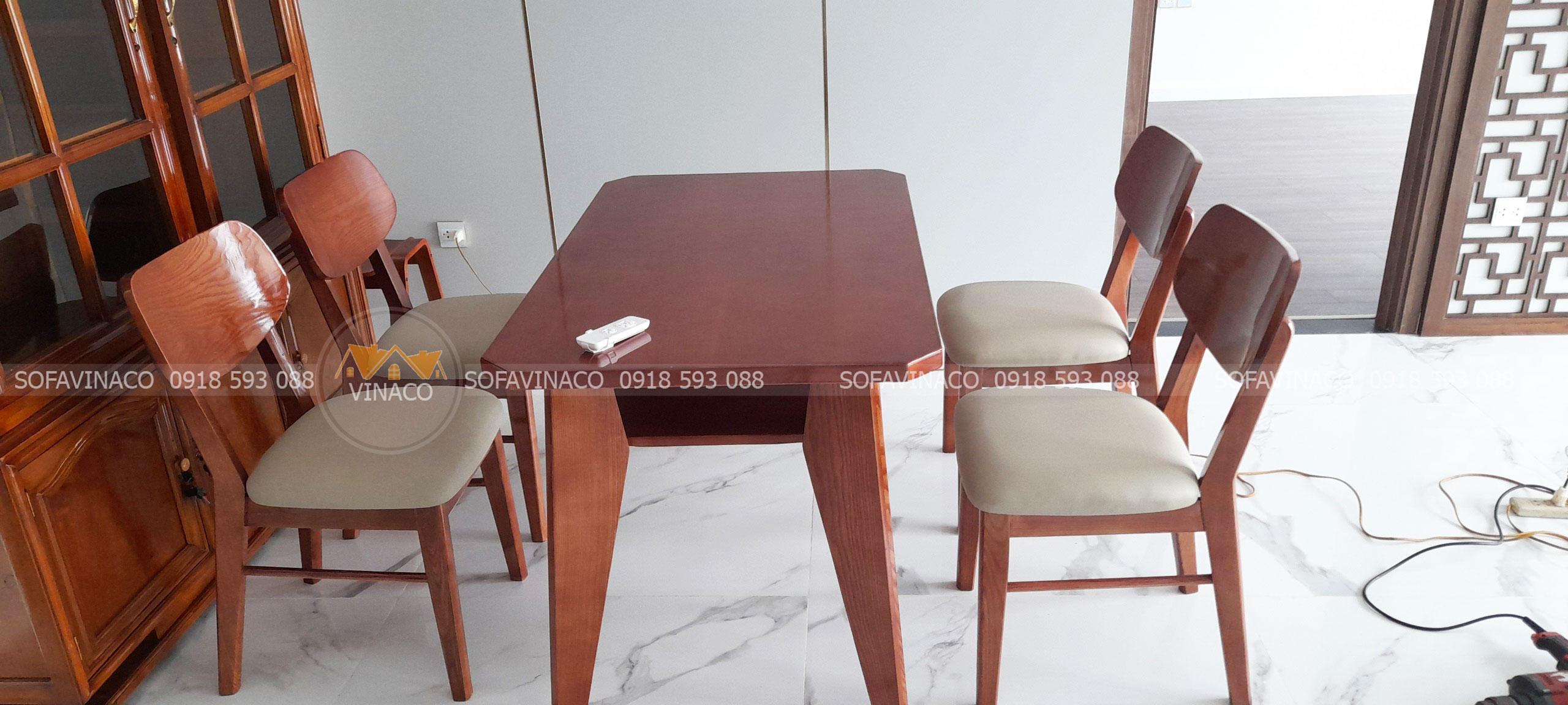 Chuyên bọc ghế bàn ăn giá tốt của gia đình chị Chi tại Sunshine City, Hà Nội