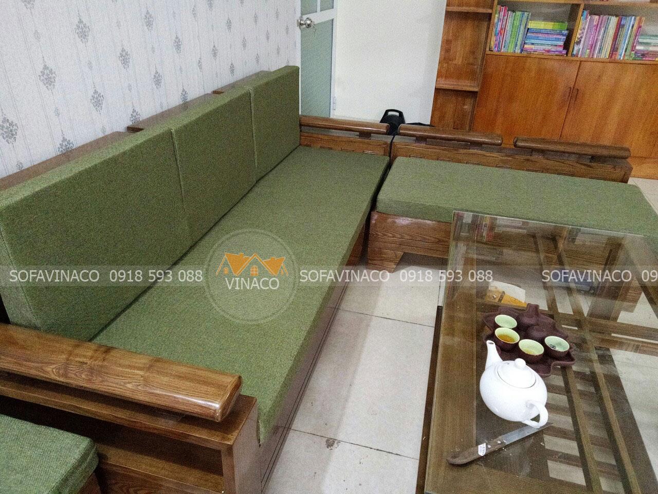 Đệm ghế xanh cốm cho sofa góc tay trứng tại Thái Nguyên