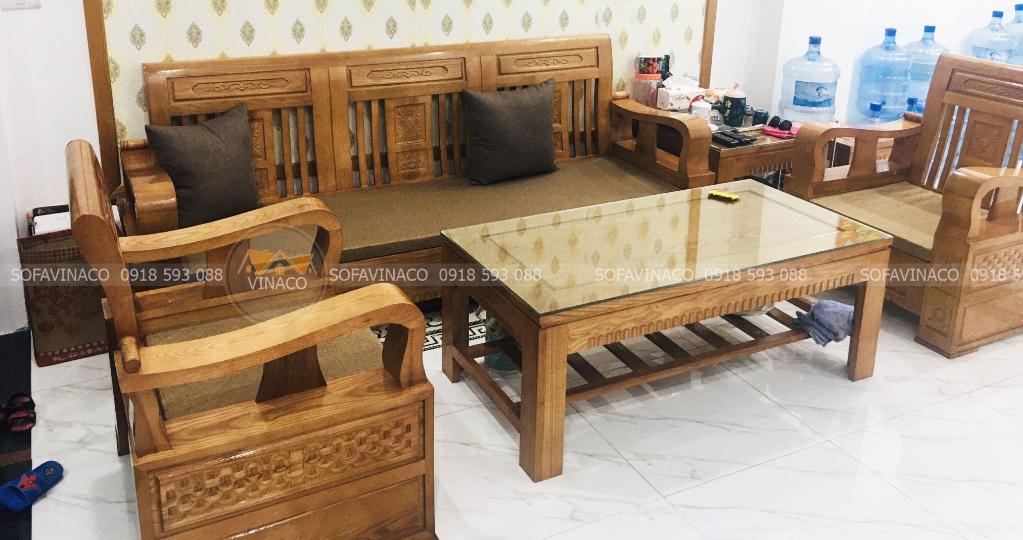 Đệm Salon gỗ sồi cho chị Hương tại 89 Quan Nhân