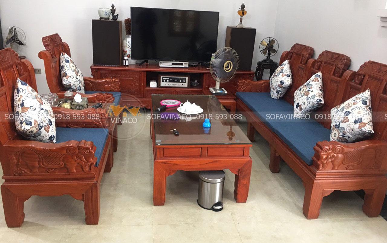 Công trinh làm đệm ghế gỗ đồng kỵ màu xanh uy tín tại Xuân Tảo, Hà Nội