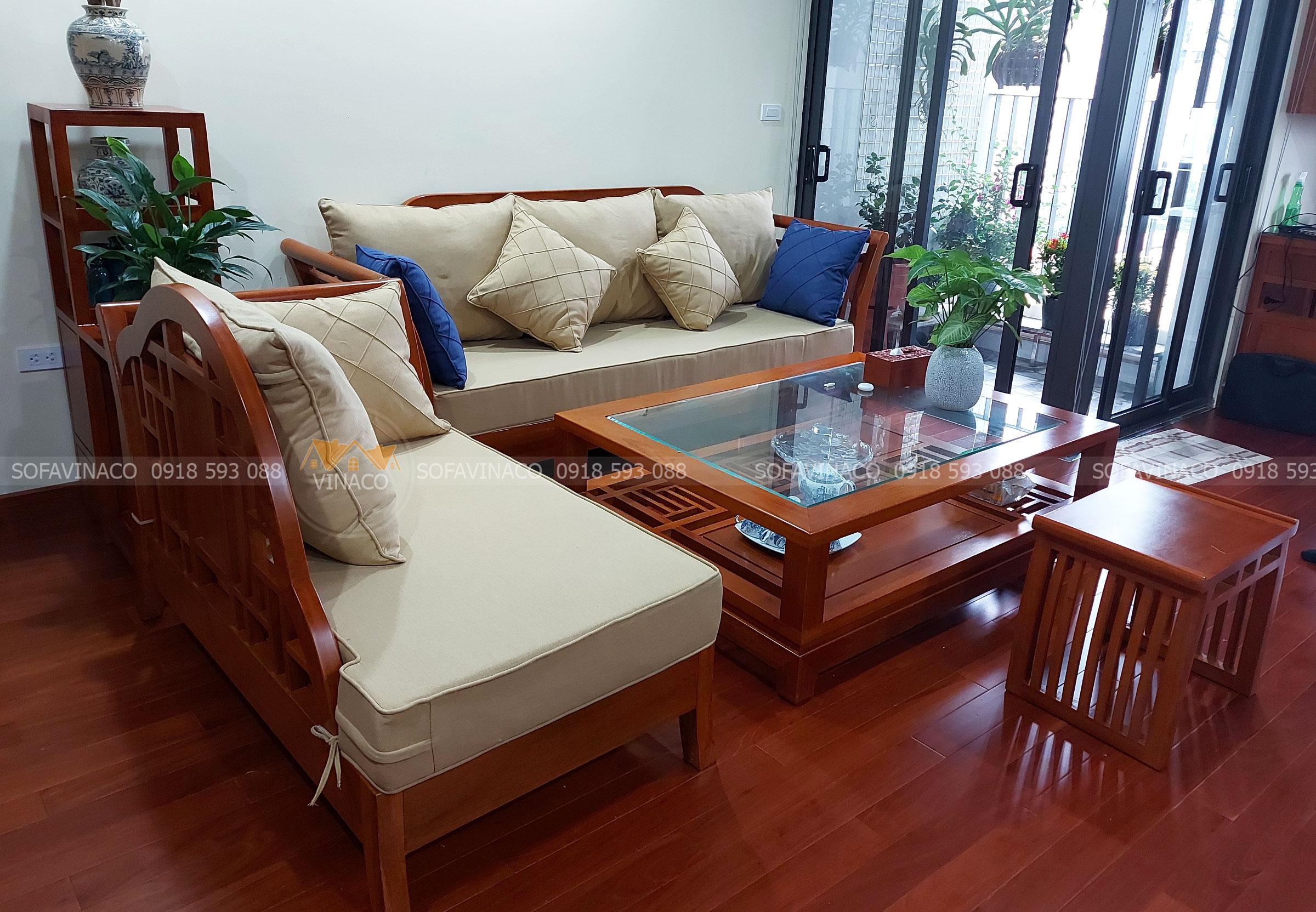 Làm đệm ghế gỗ sofa vải nỉ tại Tây Hồ, Hà Nội