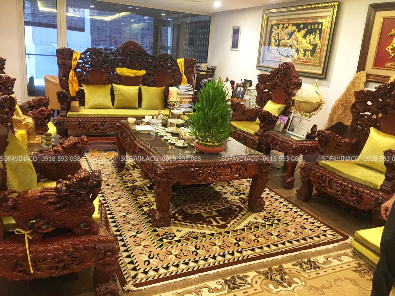 Làm đệm ghế ngồi rồng đỉnh nhà chị Quế tại Nguyễn Huy Tưởng, Thanh Xuân, Hà Nội