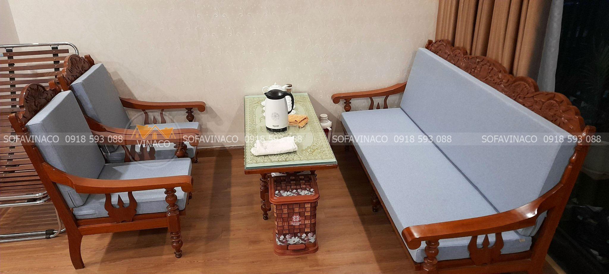Làm đệm ghế salon gỗ xưa uy tín tại Âu Cơ, Hà Nội