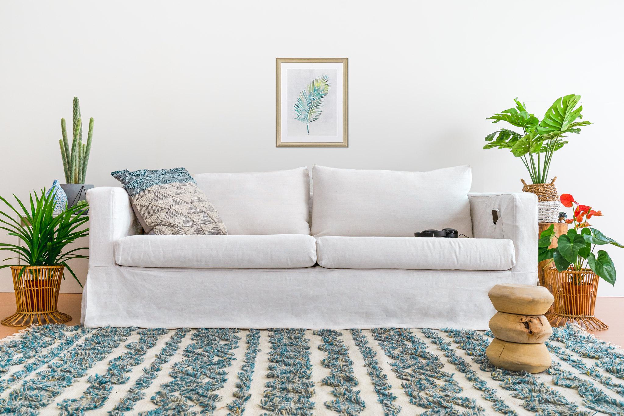 Mẹo cho một phòng khách đơn sắc và Bọc ghế sofa