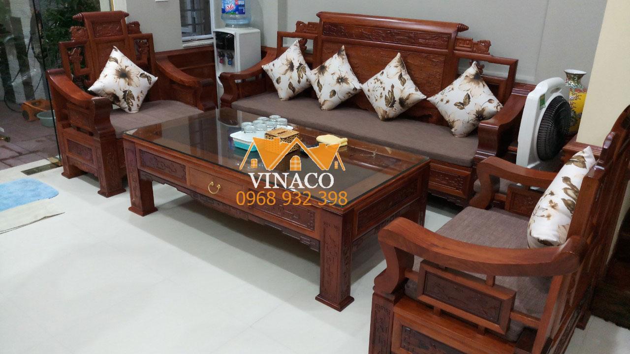Tăng thẩm mỹ cho không gian phòng khách với bộ đệm ghế gỗ hiện đại